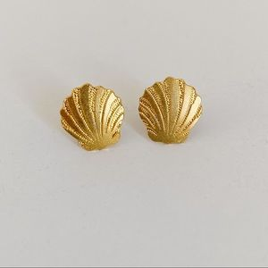 Gold Seashell Clam Stud Earrings 🐚